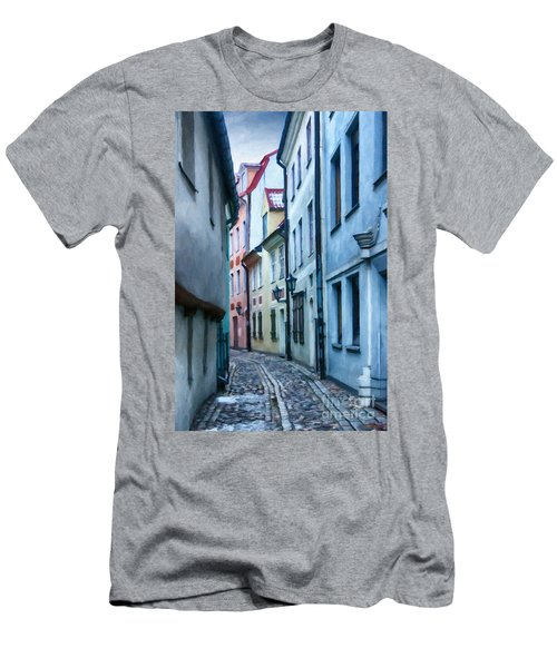 Riga Narrow Street Painting Men's T-Shirt (Athletic Fit)