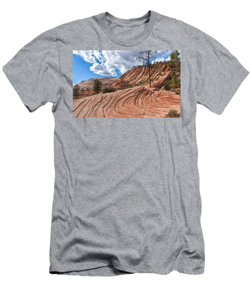 Men's T-Shirt (Slim Fit) featuring the photograph Rippled Rock At Zion National Park by John M Bailey
