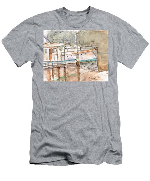 Men's T-Shirt (Slim Fit) featuring the painting River Boat  by Teresa White