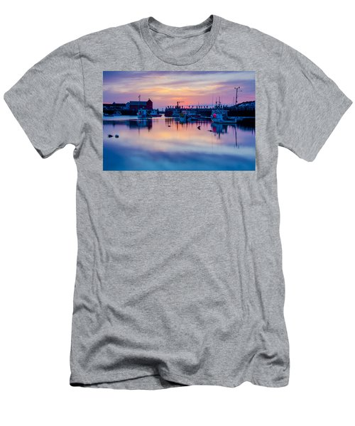 Men's T-Shirt (Slim Fit) featuring the photograph Rockport Harbor Sunrise Over Motif #1 by Jeff Folger