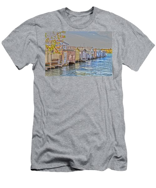 Row Of Boathouses Men's T-Shirt (Slim Fit) by William Norton