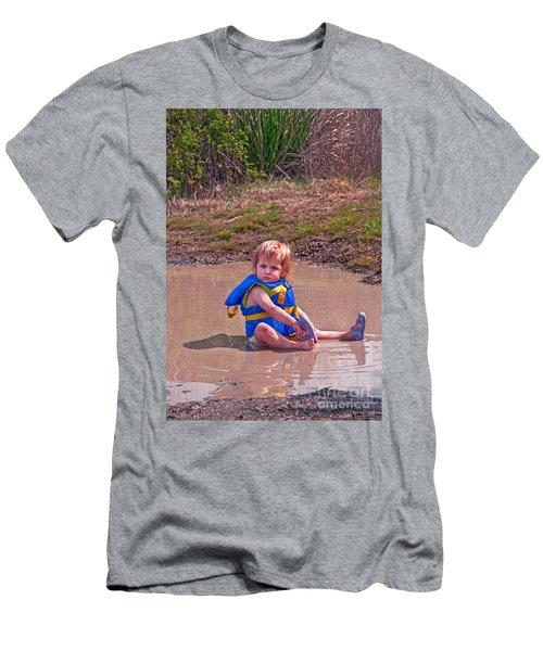 Safety Is Important - Toddler In Mudpuddle Art Prints Men's T-Shirt (Slim Fit) by Valerie Garner