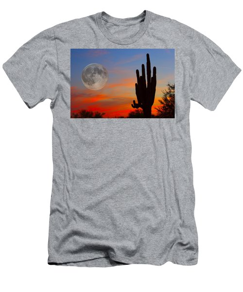 Saguaro Full Moon Sunset Men's T-Shirt (Athletic Fit)