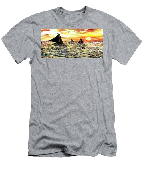 Men's T-Shirt (Slim Fit) featuring the painting Sail Away With Me by Shana Rowe Jackson