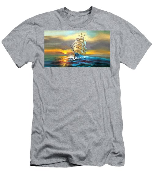 Sail Boat Full Sails Men's T-Shirt (Athletic Fit)
