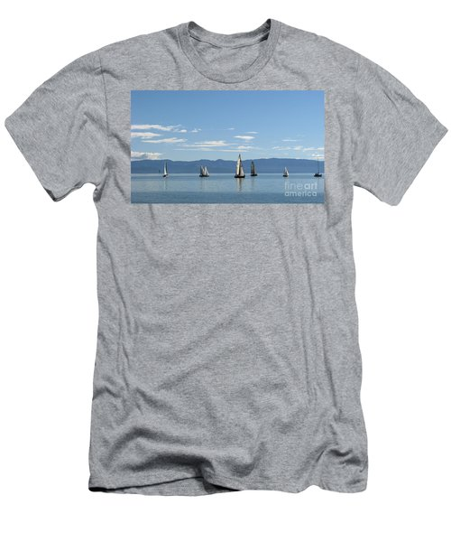 Sailboats In Blue Men's T-Shirt (Athletic Fit)