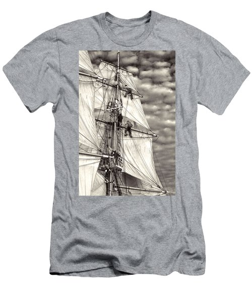 Sailors In Rigging Of Tall Ship Men's T-Shirt (Athletic Fit)