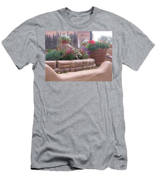 Men's T-Shirt (Slim Fit) featuring the photograph Santa Fe Adobe Patio by Dora Sofia Caputo Photographic Art and Design