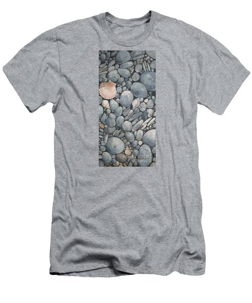 Scallop Shell And Black Stones Men's T-Shirt (Slim Fit) by Mary Hubley