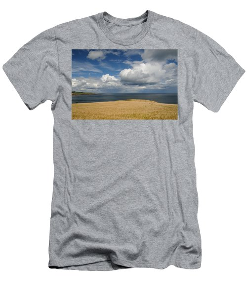 Men's T-Shirt (Slim Fit) featuring the photograph Scottish Coastal Wheatfield by Jeremy Voisey