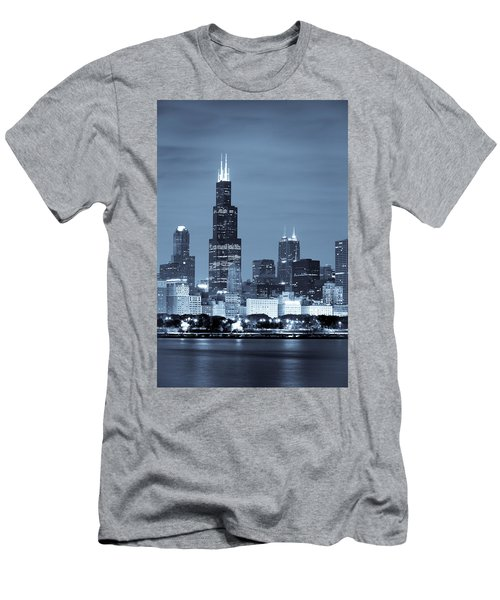 Men's T-Shirt (Athletic Fit) featuring the photograph Sears Tower In Blue by Sebastian Musial