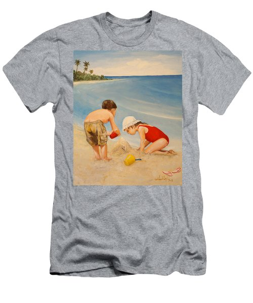 Men's T-Shirt (Slim Fit) featuring the painting Seashell Sand And A Solo Cup by Alan Lakin