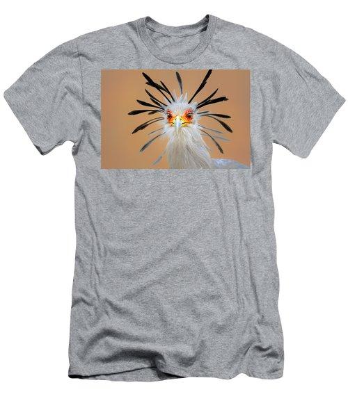 Secretary Bird Portrait Close-up Head Shot Men's T-Shirt (Slim Fit) by Johan Swanepoel