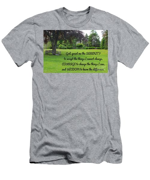 Serenity Prayer And Park Bench Men's T-Shirt (Slim Fit) by Barbara Griffin