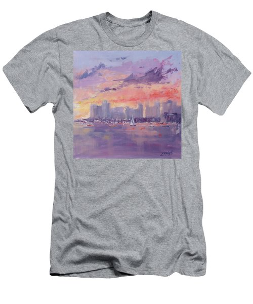 Men's T-Shirt (Slim Fit) featuring the painting Setting Sun Over Boston  by Laura Lee Zanghetti