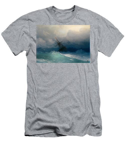 Ship On Stormy Seas Men's T-Shirt (Slim Fit) by Ivan Konstantinovich Aivazovsky
