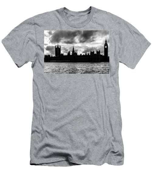 Silhouette Of  Palace Of Westminster And The Big Ben Men's T-Shirt (Slim Fit) by Semmick Photo