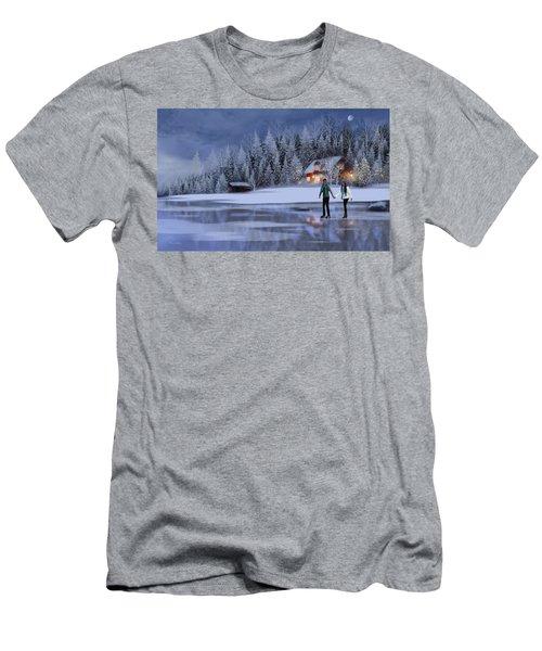 Skating At Christmas Night Men's T-Shirt (Athletic Fit)