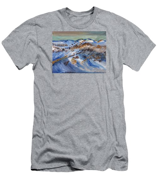 Men's T-Shirt (Slim Fit) featuring the painting Snow Covered Sand Dunes Of Cape Cod by Michael Helfen