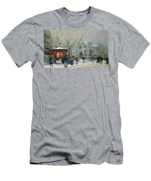 Snow Scene In Paris Men's T-Shirt (Athletic Fit)