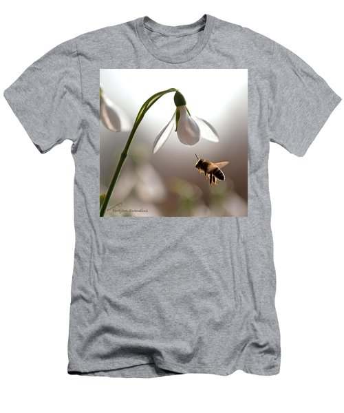Snowdrops And The Bee Men's T-Shirt (Slim Fit) by Torbjorn Swenelius