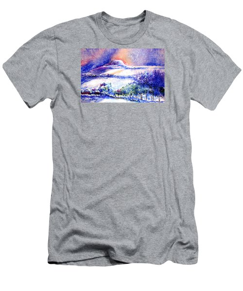 Snowstorm Over Eagle Hill Hacketstown  Men's T-Shirt (Slim Fit) by Trudi Doyle