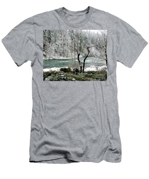 Men's T-Shirt (Slim Fit) featuring the photograph Snowy River And Bank by Belinda Greb