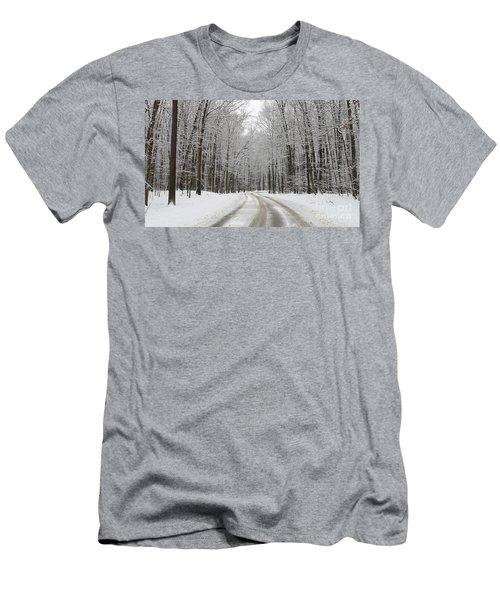 Snowy Road In Oak Openings 7058 Men's T-Shirt (Slim Fit) by Jack Schultz