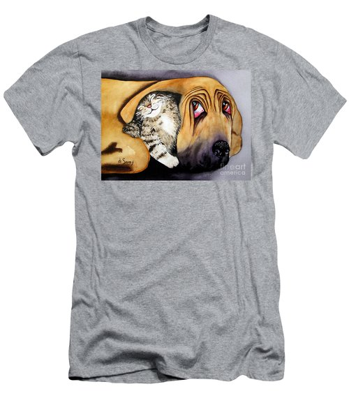 Men's T-Shirt (Athletic Fit) featuring the painting Snuggles by Diane DeSavoy
