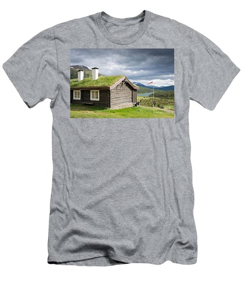Men's T-Shirt (Athletic Fit) featuring the photograph Sod Roof Log Cabin by IPics Photography