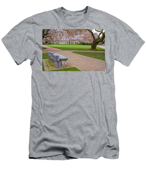Men's T-Shirt (Slim Fit) featuring the photograph Solitary Bench by Sonya Lang
