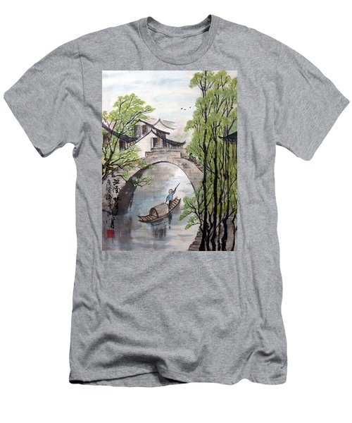 Spring In Ancient Watertown Men's T-Shirt (Slim Fit) by Yufeng Wang