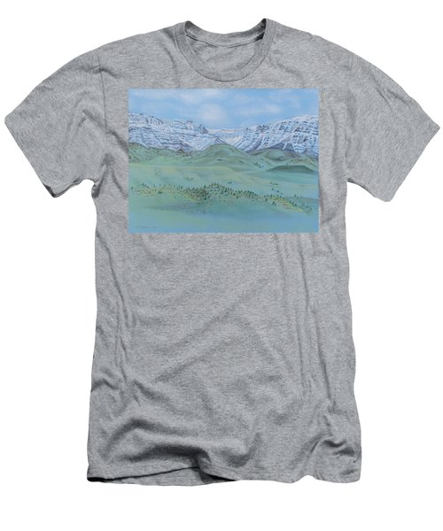 Men's T-Shirt (Slim Fit) featuring the pastel Springtime In The Rockies by Michele Myers