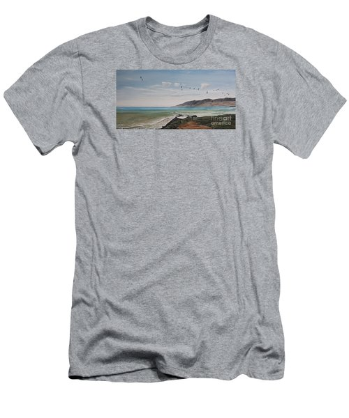 Men's T-Shirt (Slim Fit) featuring the painting Squadron Of Pelicans Central Califonia by Ian Donley