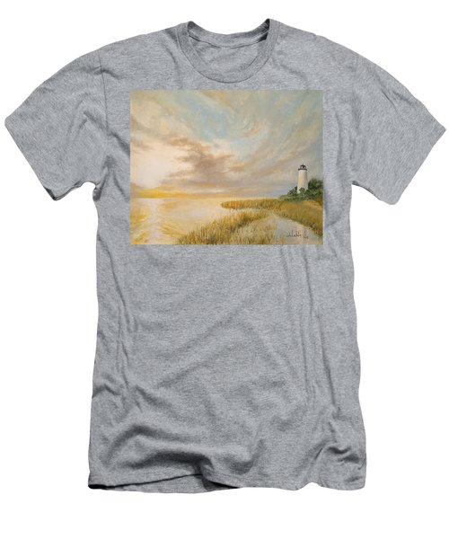 Men's T-Shirt (Slim Fit) featuring the painting St Marks Lighthouse by Alan Lakin