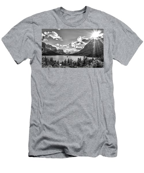 St. Mary Lake Bw Men's T-Shirt (Slim Fit) by Aaron Aldrich
