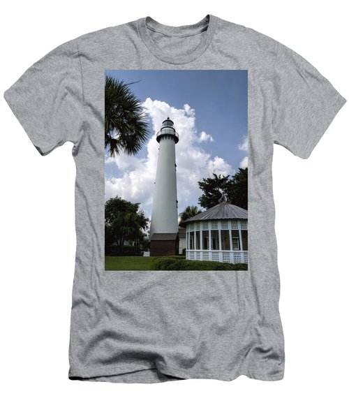 St. Simon's Island Georgia Lighthouse Men's T-Shirt (Slim Fit) by Kathy Clark