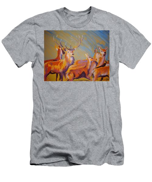 Stag And Deer Painting Men's T-Shirt (Athletic Fit)