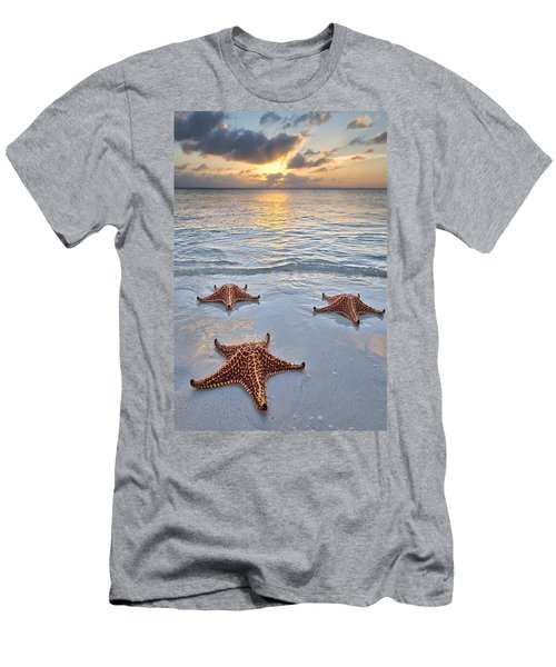 Men's T-Shirt (Athletic Fit) featuring the photograph Starfish Beach Sunset by Adam Romanowicz