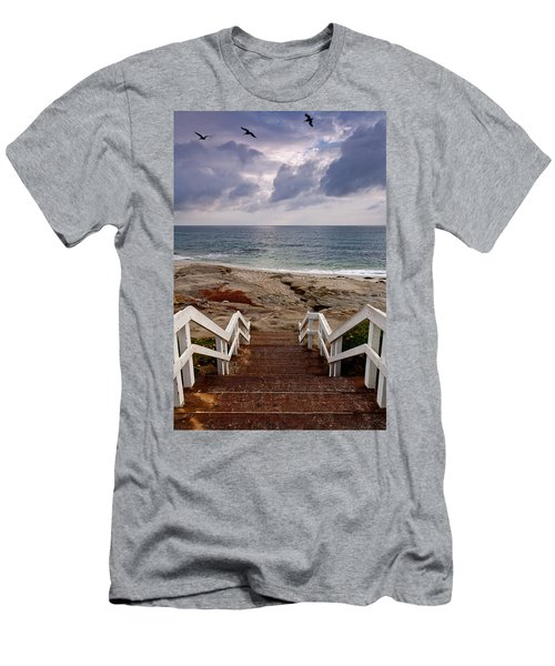 Steps And Pelicans Men's T-Shirt (Athletic Fit)