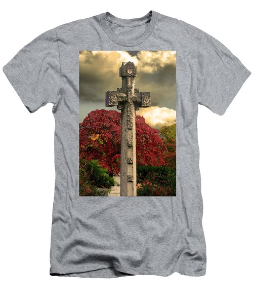 Men's T-Shirt (Slim Fit) featuring the photograph Stone Cross In Fall Garden by Lesa Fine