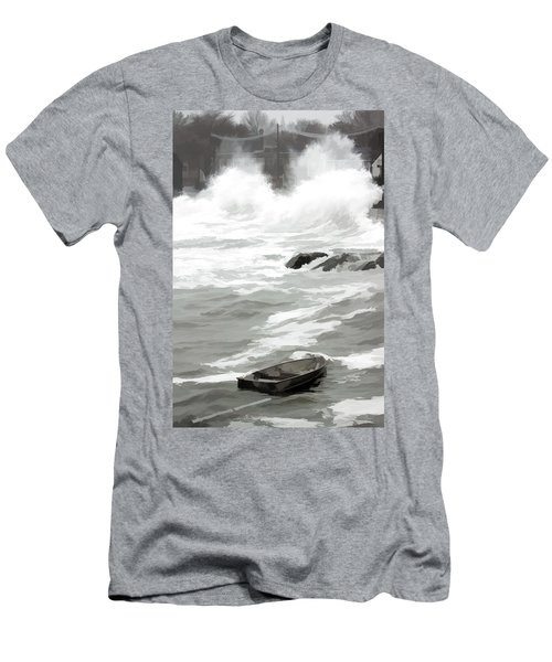 Men's T-Shirt (Slim Fit) featuring the photograph Stormy Waves Pound The Shoreline by Jeff Folger