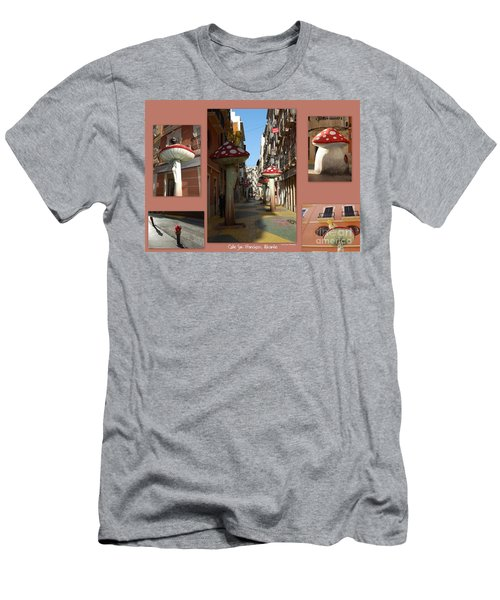 Street Of Giant Mushrooms Men's T-Shirt (Slim Fit) by Linda Prewer