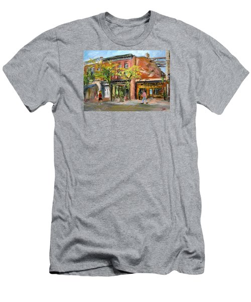 Men's T-Shirt (Slim Fit) featuring the painting Street View by Jieming Wang