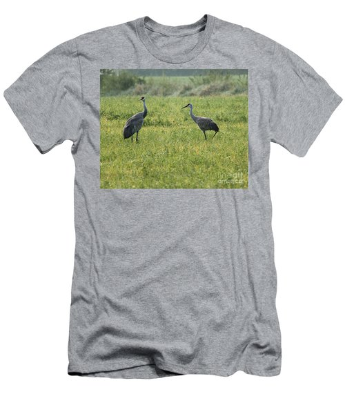 Men's T-Shirt (Slim Fit) featuring the photograph Strolling Cranes by Debbie Hart