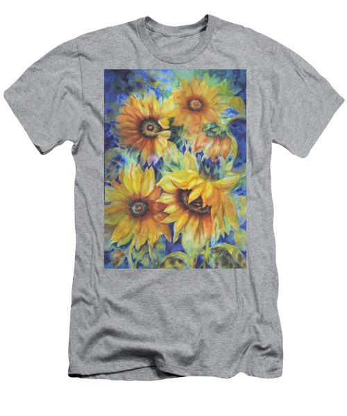 Sunflowers On Blue I Men's T-Shirt (Athletic Fit)