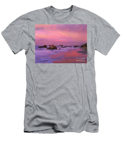 Men's T-Shirt (Slim Fit) featuring the photograph Sunrise On Sea Stacks Harris Sb Oregon by Dave Welling