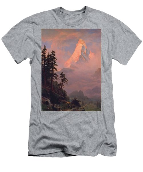 Sunrise On The Matterhorn Men's T-Shirt (Slim Fit) by Albert Bierstadt