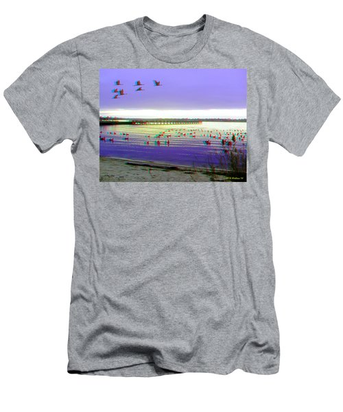 Sunset And Geese - Use Red-cyan 3d Glasses Men's T-Shirt (Athletic Fit)