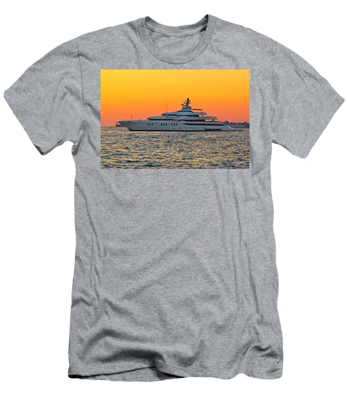 Superyacht On Yellow Sunset View Men's T-Shirt (Athletic Fit)